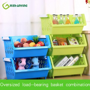 Plastic Storage Basket With Flower Kitchen Vegetable Fruit Seasoning Storage Can Be Stacked Basket