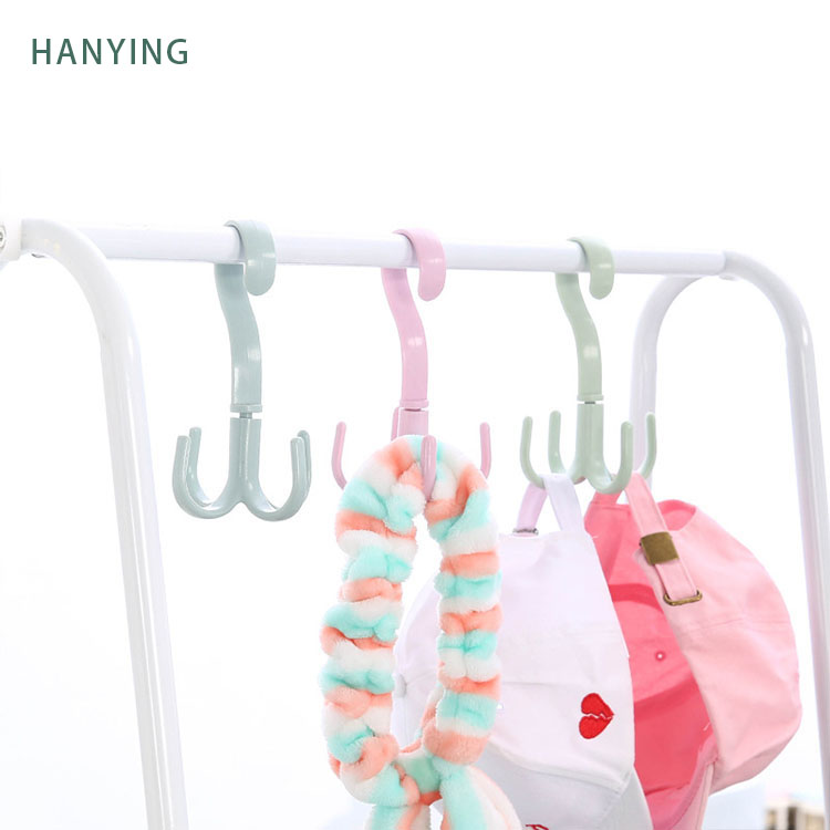 Wholesale 4 Claws Hanger Portable Multifunctional Wardrobe Hook Household Rotary Plastic Hook