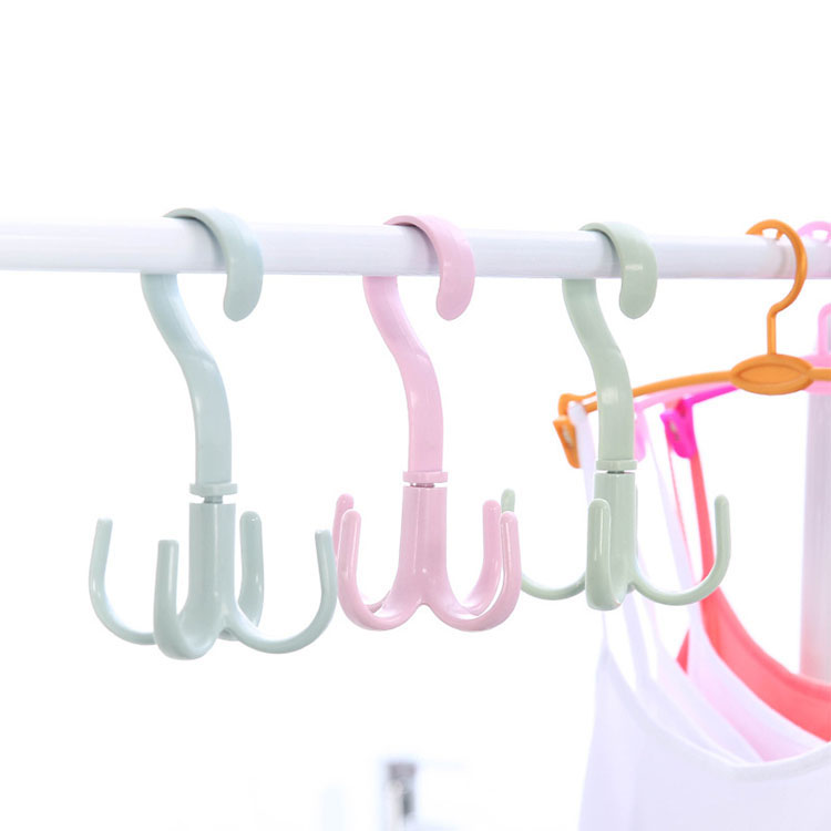 Wholesale 4 Claws Hanger Portable Multifunctional Wardrobe Hook Household Rotary Plastic Hook Featured Image