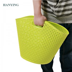 Plastic Hollow Laundry Storage Basket With Handle