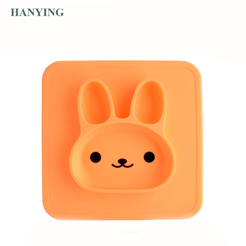Wholesale cute healthy new design Children's Plate Silicone Rabbit Absorbs Placemats Silicone Bowl Set Cutlery Set