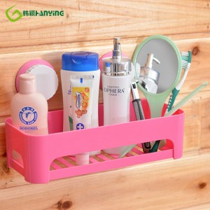 Yiwu Cheap Multi Funksje Lovely ABS Plastic Big Suction Cup Storage Rack Organizer Douche Wall Shelf Bathroom Shelves