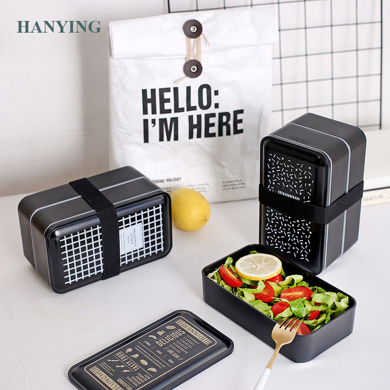 Nordic Black Style Thermal Lunch Box Leak-Proof Microwave Tableware Bento Box Quality Health Kids Portable Picnic Food Container