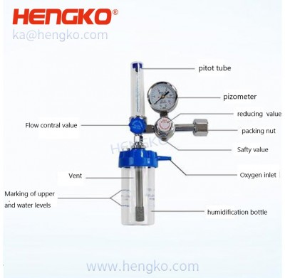 HENGKO Stainless steel  inner core of wall type oxygen inhaler filter Oxygen Flow Meter With Humidifier Bottle, Oxygen Flowmeter