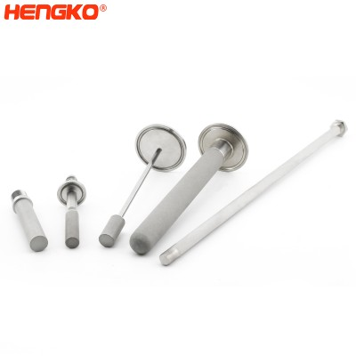 Sintered sparger tube with porous metal stainless steel tank and in-line spargers used in bioreactors