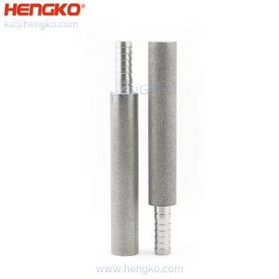 "HENGKO 2 10 15 microns sintered porous metal stainless steel 316L aeration bubble diffuser carb stone soda filter with 1/8"" barb for DIY home brewing beer wine"