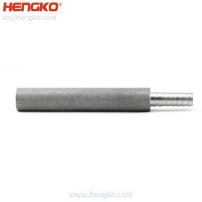 Customized sintered air bubble diffusion stone porous stainless steel 316 micro gas sparger with barb connector