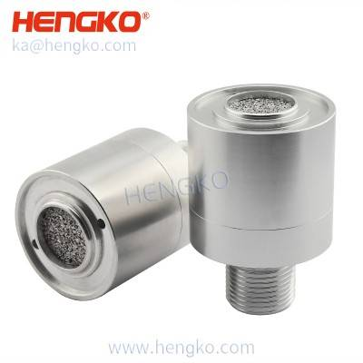 Analog relay output carbon dioxide co2 fixed gas detector sintered stainless steel probe with IP66 housing -sensor head with sintered filter disc