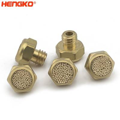 ASP-3 Sintered flow control SS pneumatic air exhaust muffler flat insert filter and hex., sintered brass bronze stainless steel