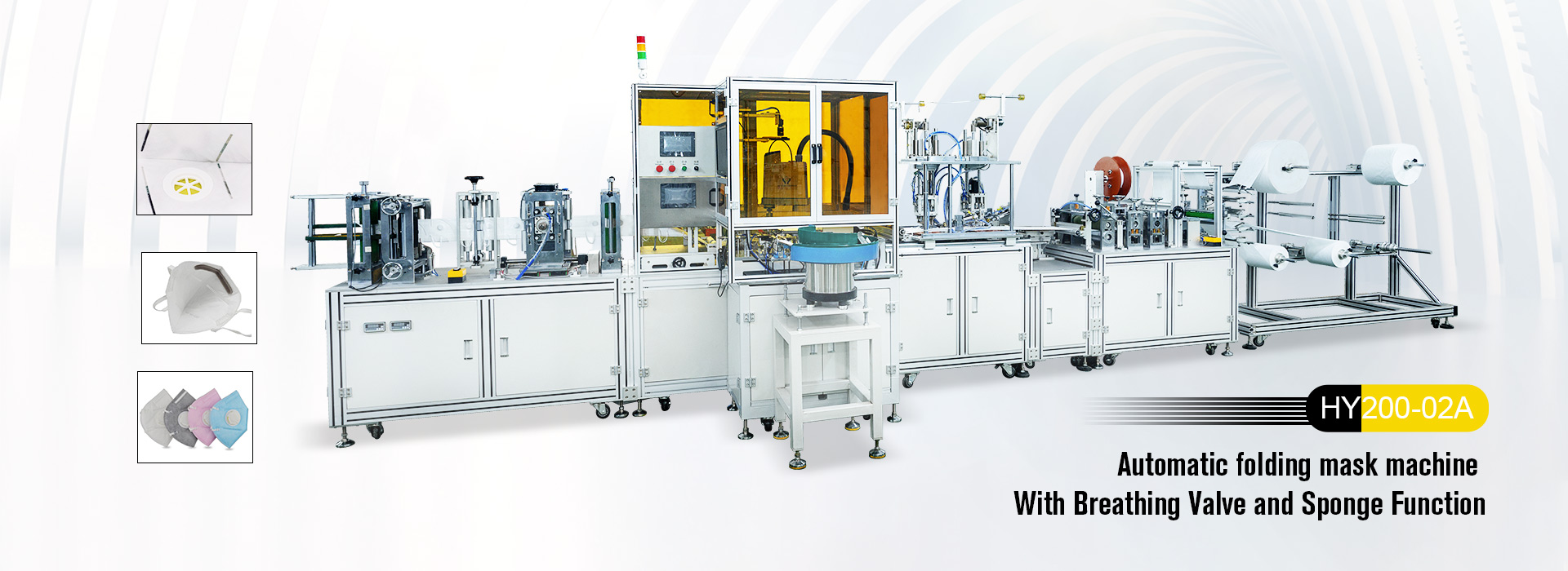 It is a fully automatic production line to make 2D folded respiratory mask , <br/>which from nose wire welding, ear loop welding to finished mask. It can be with extra function of breathing valve and sponge.