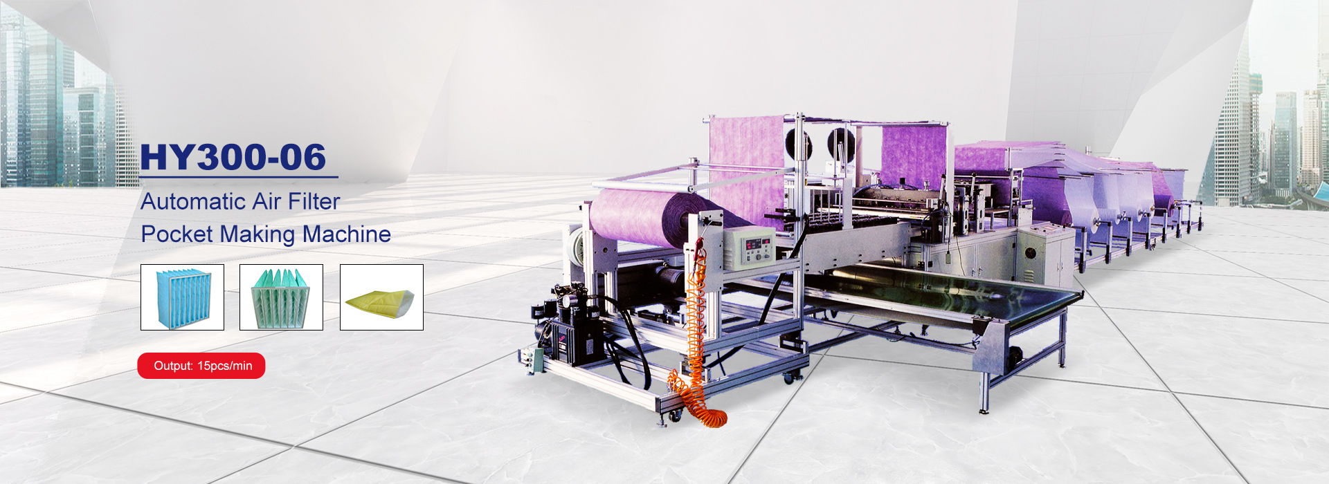 This machine can efficiently produce the air filter bag ,from raw material feeding to the finished products can be automatic completed, <br/>and it is save both time and labour, tidy and each inside space can be adjustable.
