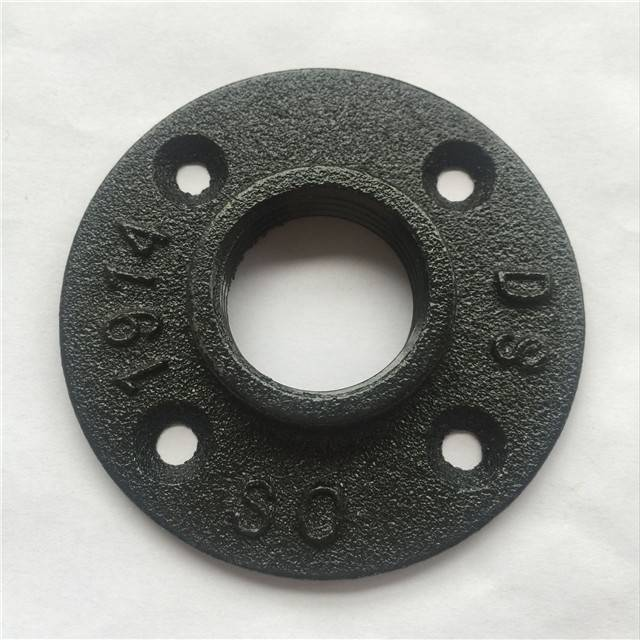 1/2'' 3/4'' 1'' Black Malleable Iron Threaded Floor Flange used for retro furniture table legs