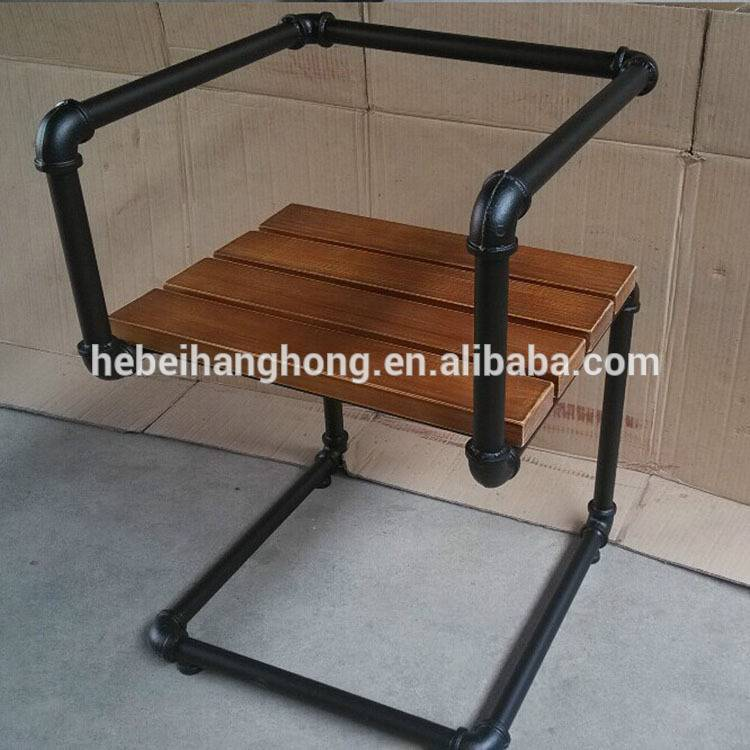 DIY black metal pipe furniture with cast iron floor flange, elbow, pipe fittings