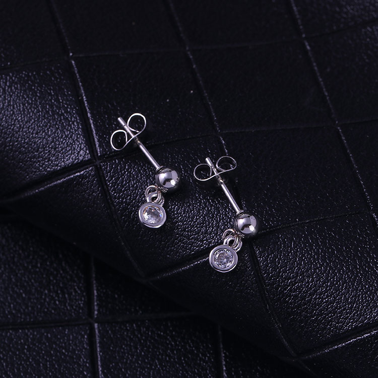 Wholesale stainless steel non-fade colour bezel setting zircon number eight stud earrings infinity sign earrings
