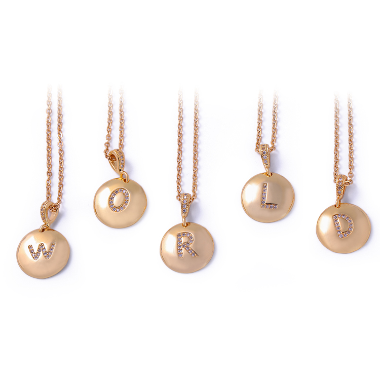 Custom Initial Letter Necklace Gift for Women Metal Alphabet Letter Pendant Jewelry Suppliers