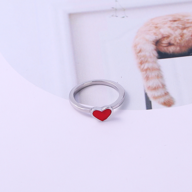 Factory direct sell stainless steel enamel steel ring red heart girls rings simple