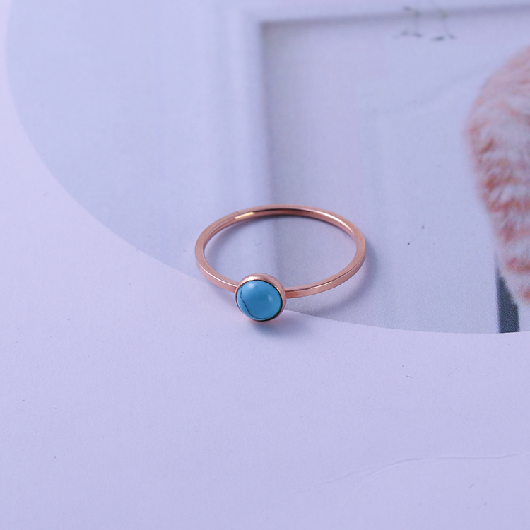 Top Quality minimal rings Turquoise Jewelry semi Gemstone Girls Natural Stone Birthstone Rings
