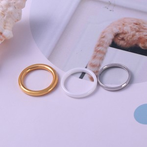 Hot sale simple minimalis perhiasan emas dilapisi stainless steel ring kosong kosong