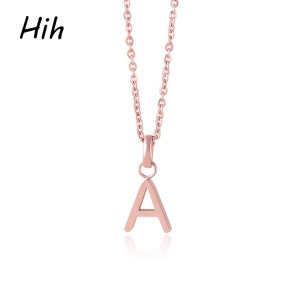 Gold Plated High Quality Stainless Steel Alphabet Charm Pendant Letter Necklace