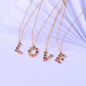 Love pendant colourful zirconia rainbow initial letter alphabet pendant necklace A-Z letter charm necklace