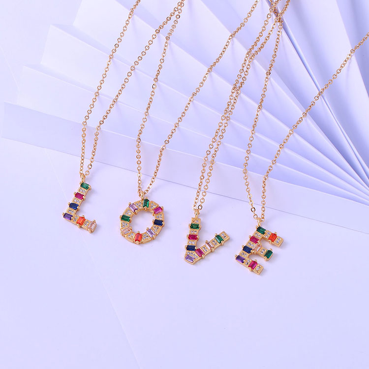 Love pendant colourful zirconia rainbow initial letter alphabet pendant necklace A-Z letter charm necklace Featured Image