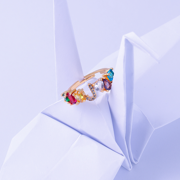 Fabulous Wedding Finger Engagement Adjustable CZ Initial ring Rainbow Crystal Letter Ring