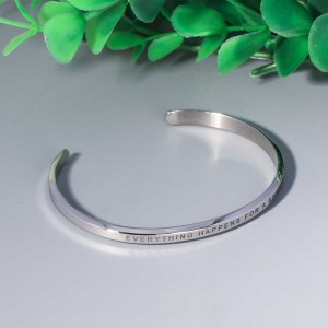 Motivational Stainless Steel Jewelry Custom Stacking Inspirational Engraved Mantra Bracelet