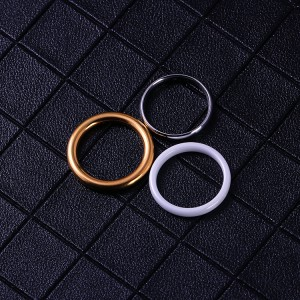 Hot sale simple minimalist jewelry gold plated stainless steel round plain blank ring