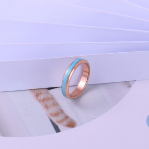 Low MOQ Fashion Jewelry Stainless Steel Blue Emamel Minimal Ring Custom Engagement Wedding Ring Bands