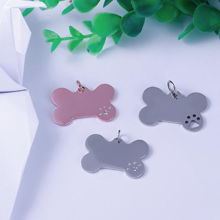 Custom stainless steel metal Blank ID tag bone shape engraved logo name pet dog tag