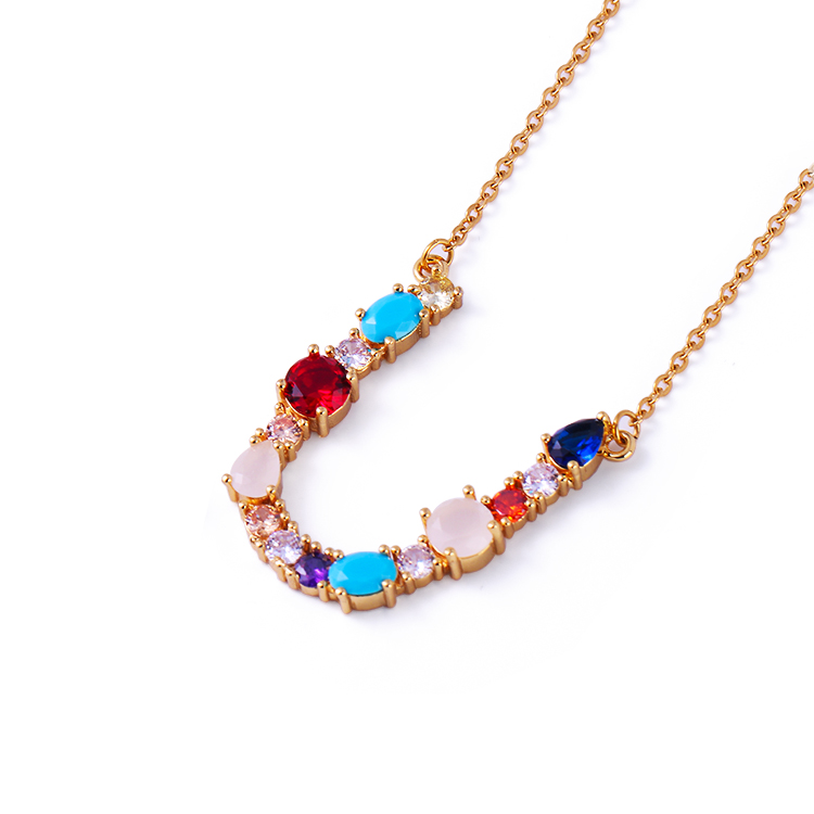 Trendy jewelry CZ diamond letter pendant rainbow colorful zircon letter initial necklace bridesmaid gift Featured Image