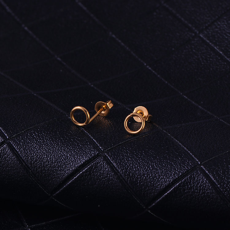 Minimalist jewelry gold plated stainless steel round shape hoop circle stud earrings