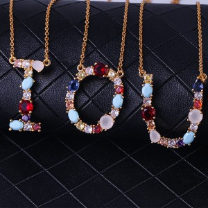Trendy jewelry CZ diamond letter pendant rainbow colorful zircon letter initial necklace bridesmaid gift