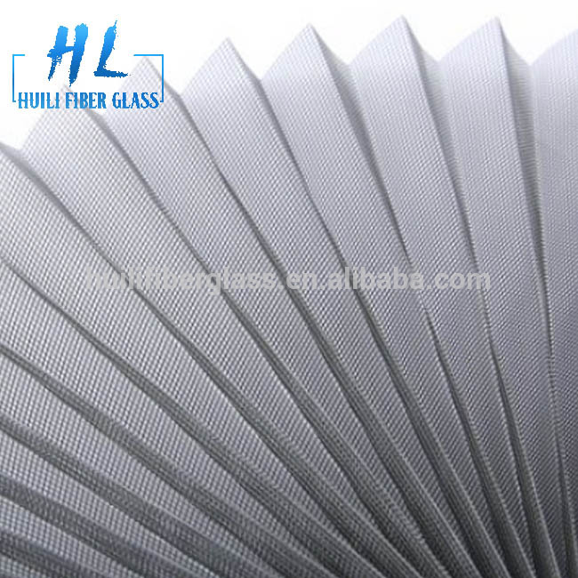 20mm polyester folded Mosquito Screen plisse insec mesh 85g/m2 grey color