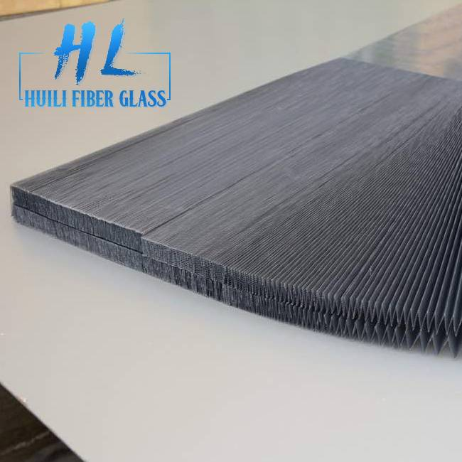 Grey Color Pleated Mesh Insect Screen for Retractable Window Screen