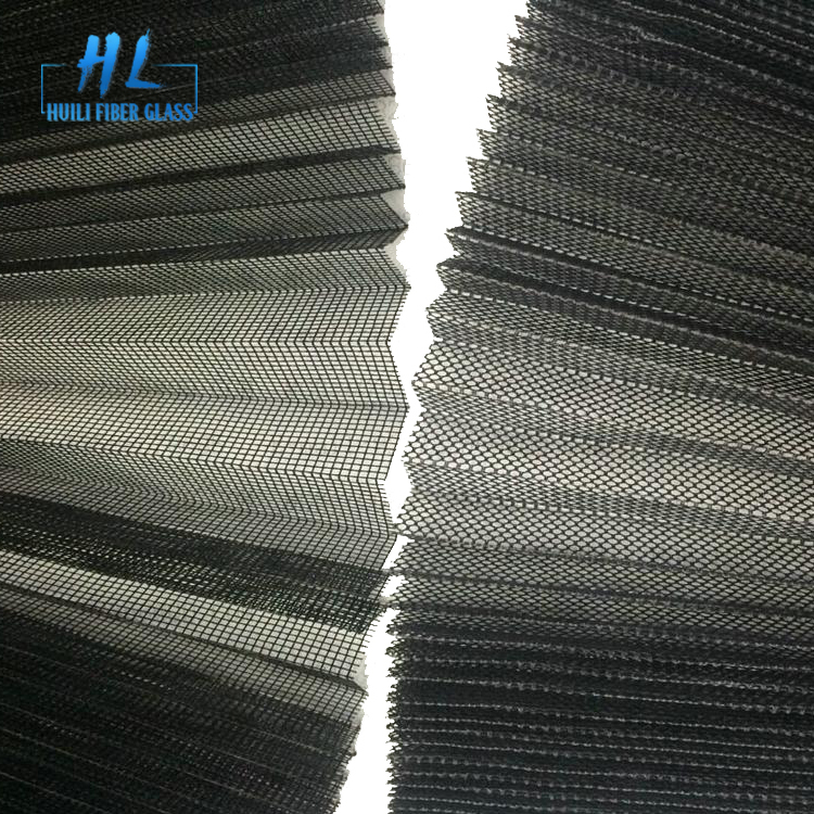 Grey Color Polyester 15mm Folding Pleated Mosquito Mesh With 3m x 30m