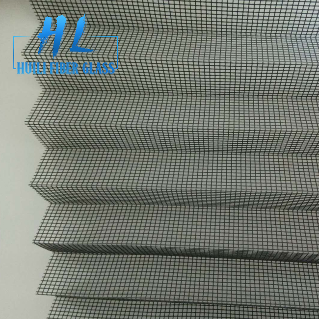 Grey 18*16 Mesh Fiberglass Folding Screen Netting Pleated Insect Screen Mesh