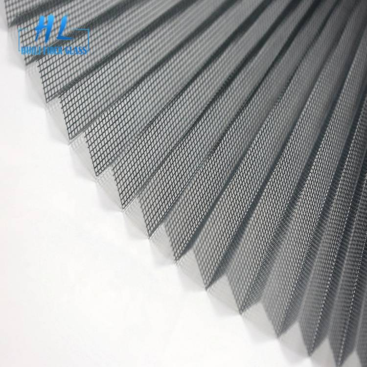 2.5m x 30m Grey Color 18mm Fiberglass Pleated Insect Screen Mesh For Sliding Window
