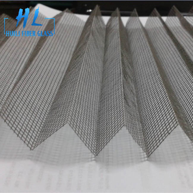 polyester plisse mosquito screen mesh grey color 18mm height