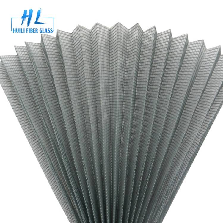 2.0m x 30m Grey Color 15mm Fiberglass Pleated Insect Screen Mesh For Sliding Window