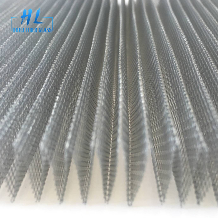 Grey color 2.2m wide 15mm polyester pleated folding screen