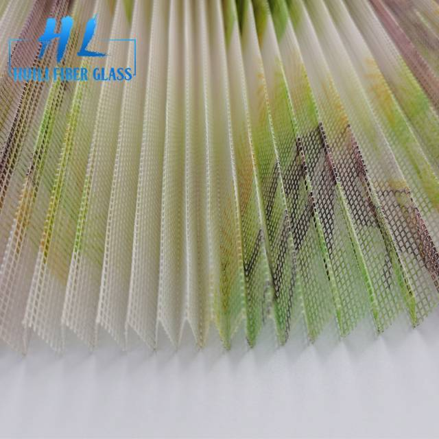 Printed Polyester fly screen folding window net window door screen pleated mesh Featured Image