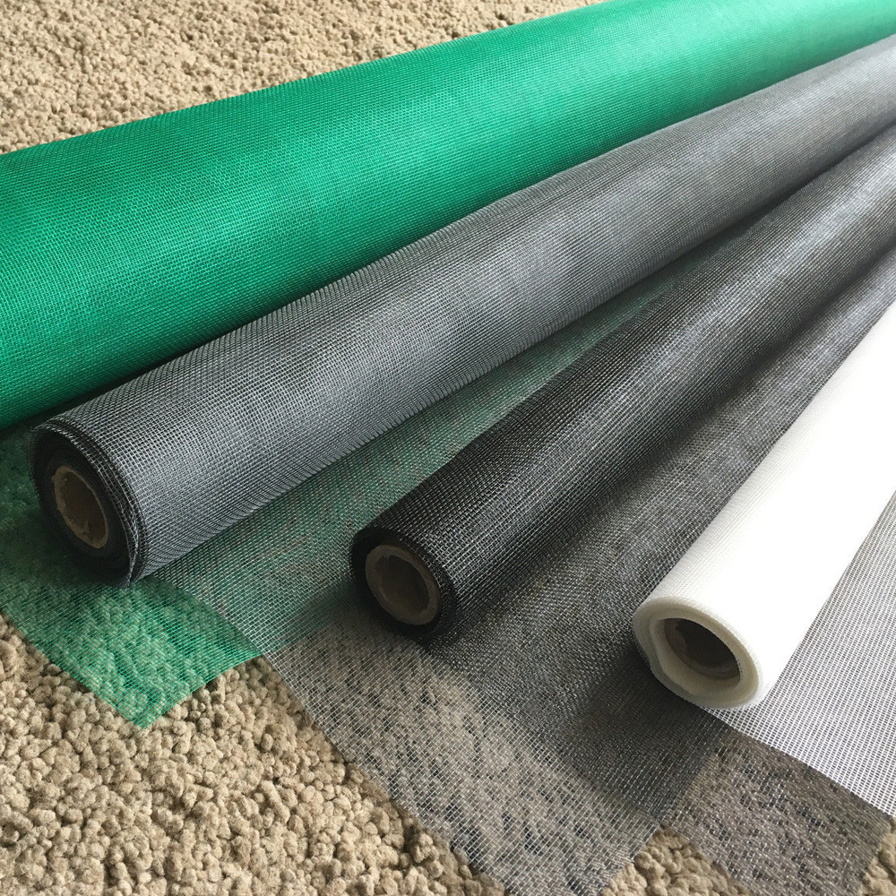 Factory Plain Woven Screen Roll PVC coated Grey Color 18×16 Fiberglass Insect Screen For Window and door for anti insect screen