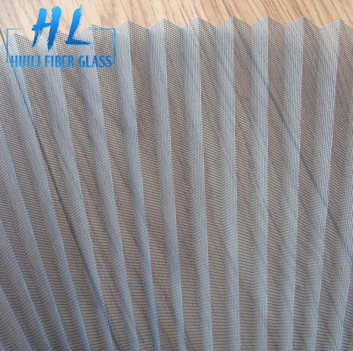 Fiberglass polyester plisse window insect screen /pleated mosquito screen mesh