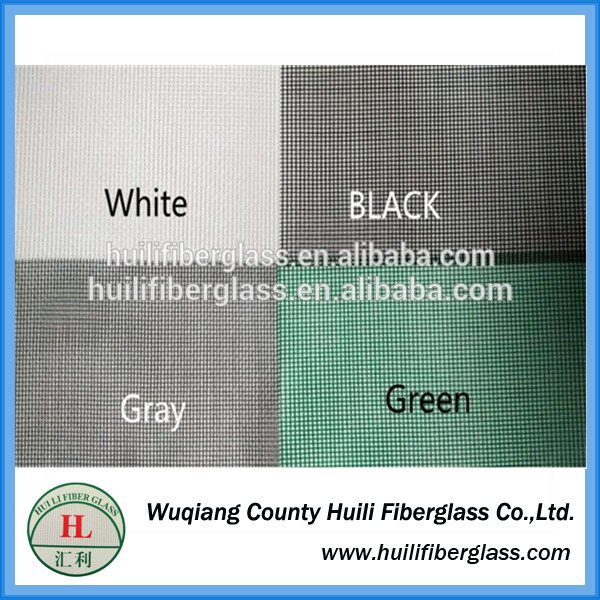 Green color Wuqiang PVC Coated white Fiberglass Window Insect Screen