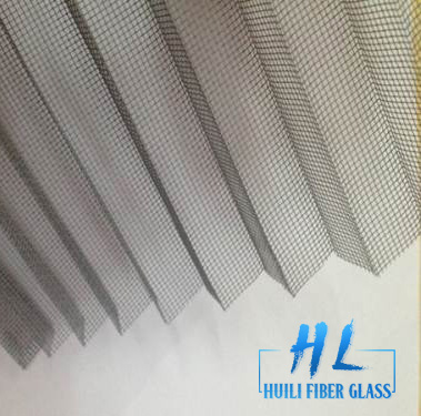 Polyester pleated insect screen for retractable windows and doors