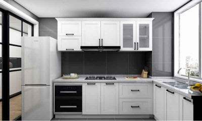 Modern White Kitchen Cabinets L-shaped