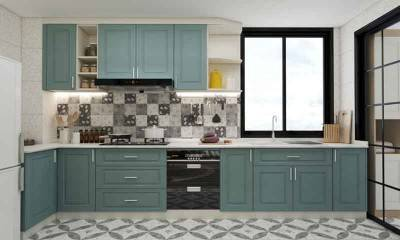 U-shaped Kitchen with Gray Cabinets in North European Style