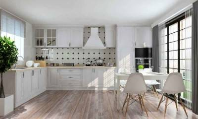 Off White Custom Kitchen Cabinets in Modern Style