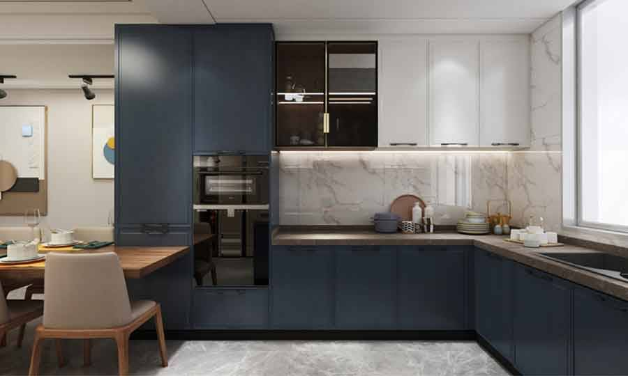 Small U-shaped Kitchen Design with Blue Base and Pantry Cabinets